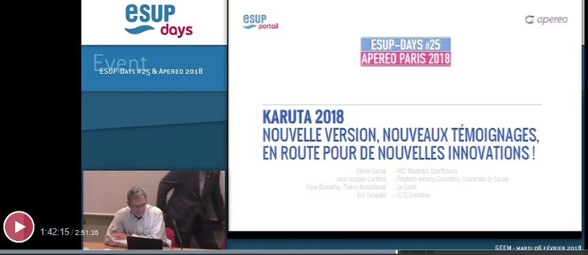 Revoir la présentation de Karuta aux Esup Apereo Days Paris 2018