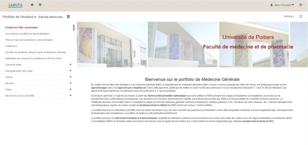 Portfolio d'apprentissage de l'étudiant·e de 3e cycle en Médecine Générale à l'Université de Poitiers.