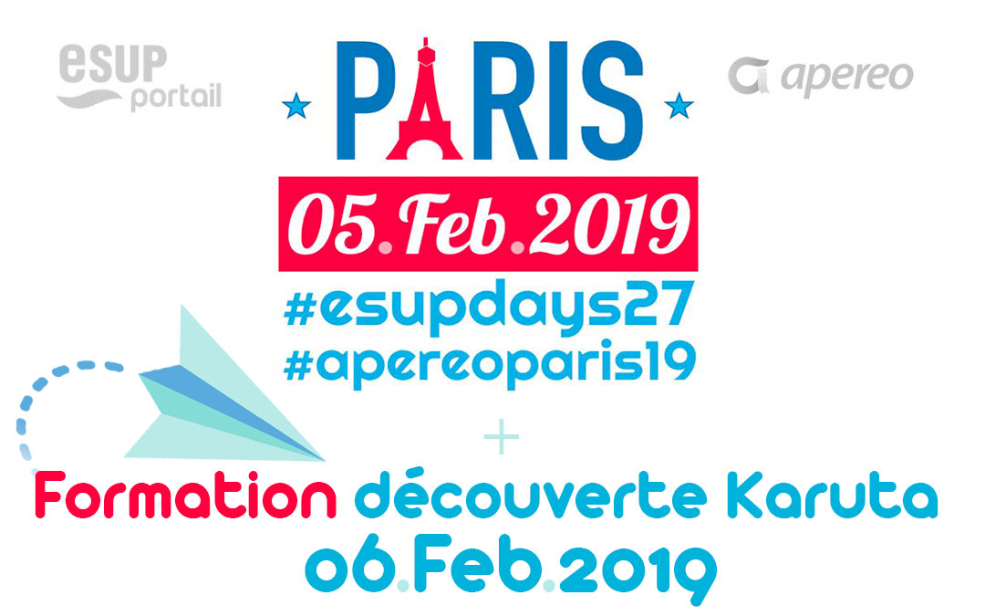 RDV à Paris : communication au ESUP-DAYS & APEREO PARIS 2019 et une formation Karuta